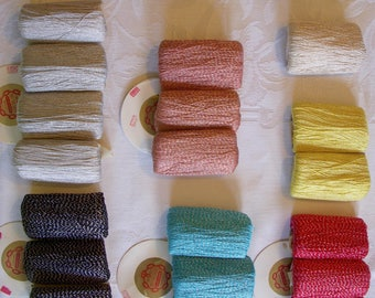 Vintage Silver Threaded Crochet Yarns, Many Colors Available, J & P Coats Knit-Cro-Sheen