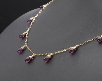 Rhodolite Garnet Necklace, Garnet Necklace, Garnet Jewelry, Dainty Necklace, Dainty Jewelry, Minimalist Necklace, Birthstone Necklace