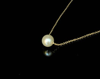 Akoya Pearl Floating Choker Necklace, Pearl Necklace, Pearl Jewelry, Pearl Choker, Pearl Floating Necklace, Minimalist Necklace
