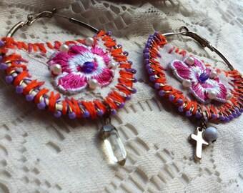 Rose Ambrosia boho earrings, hoop earrings, large earrings, round earrings, rose earrings, boho chic earrings, lace gypsy earrings
