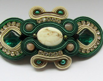 Hair Clip Soutache Cream - Green