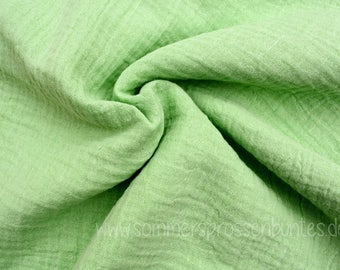 Muslin gauze fabric double gauze 100% cotton, light green