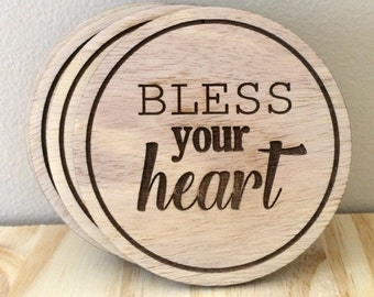 Set of Laser Engraved Wooden Coasters - Bless Your Heart