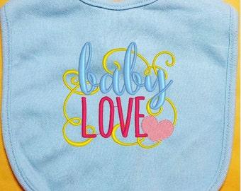 Valentine Baby Bib - Baby Love baby bib, custom baby bib, infant baby bib, girl bib, boy bib, cotton baby bib, handmade bib