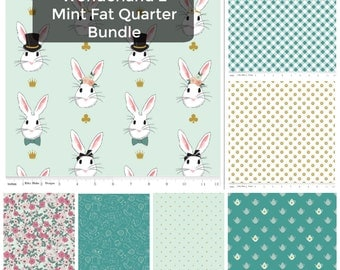 Alice in Wonderland Fabric - Fabric by the Yard - Riley Blake - Modern quilt fabric - Fat Quarter Bundle - 7 FQs in Wonderland 2 Mint