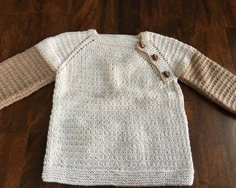 Side-button Hand Knit Baby Sweater/ Beige and Brown with monkey buttons