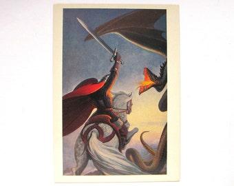 The Fight with Dragon, Rus, Bogatyr, Hero, Illustration by Konstantin Vasilyev, Unused Postcard, Soviet Vintage Postcard, USSR, 1982