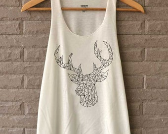 Deer Polygon Graphic Shirts Tank Top  Women Size S M L