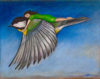 Great Tit Nature Bird Flying Spiritual Female Figure Escape Freedom Blank Greeting Card