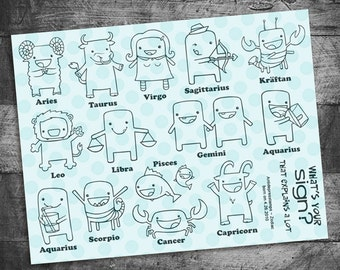 Zodiac stamps, kawaii stamps, kawaii zodiac stamps, unmounted Rubber Stamps by Starving Artistamps