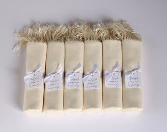 6 IVORY PASHMINA SHAWLS - Custom Favor Tags with Shawls - Wedding Wraps in Ivory for Brides and Bridesmaids - Winter Wedding Pashminas