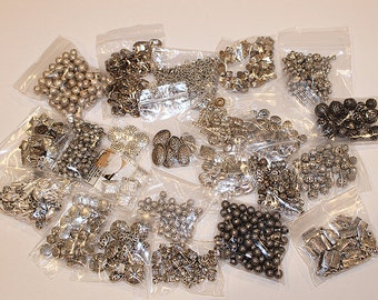 Huge Silver Plate Bead Destash, 35+ different varieties, Jewelry Supply, B182