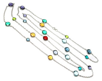 Solid 92.5 sterling silver chain with multi gemstones, double string bezel chain, multi color chain, connector chain, layering bezel chain