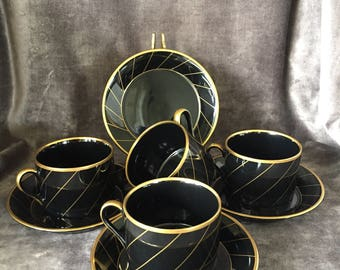 Vintage 80's Floyd and Fitz black and gold Harlow teacups and saucer set. Fine porcelain