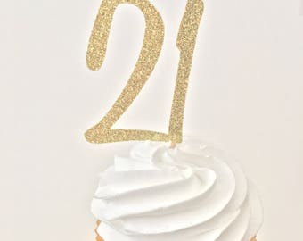 21 Cupcake Toppers - 21st Birthday Decor - Glitter Gold Toppers - Gold Cupcake Picks - 21st Birthday Ideas - Twenty One Cupcake Toppers