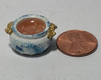 1/12 Scale Pot of Chicken Noodle Soup, Miniature Pot of Chicken Noodle Soup