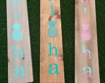 Aloha-aloha sign-Hawaiian decor-beach signs-beach decor-pineapple decor-pineapple sign-rustic wood sign-wall decor