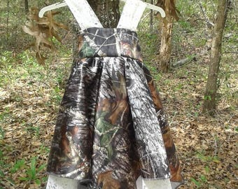 Beauiful handkerchief dress Made with #1 Mossy Oak Break Up Satin Camo fabric& Ivory Lace. Choose your color of camo. Other lace available