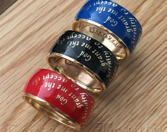 NEW! Serenity Prayer Ring, Recovery Token Ring, AA Chip Ring in your choice of Color Sizes 7-15