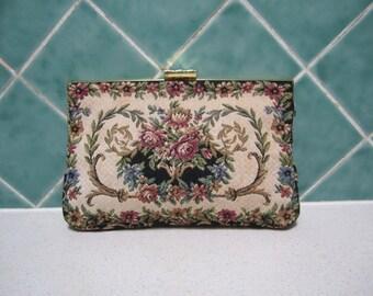 Vintage Tapestry Clutch/Handbag - Purse
