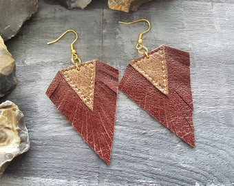 Burgundy red earrings. Leather earrings. Boho earrings. Bohemian earrings. Red and gold earrings. Leather jewelry. Boho jewelry.
