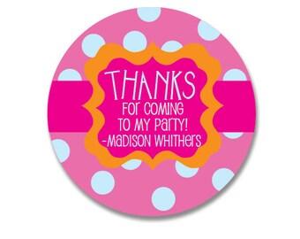 Birthday Gift Stickers, Personalized Stickers, Birthday Favor tags, Birthday Favor stickers, Gift Bag Stickers, Orange Pink, Kids Birthday