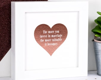 Framed Marriage Print; Rose Gold Foil Marriage Print; Heart Wedding Print; Wedding Gift; Anniversary Gift; Rose Gold Decor; FFP004