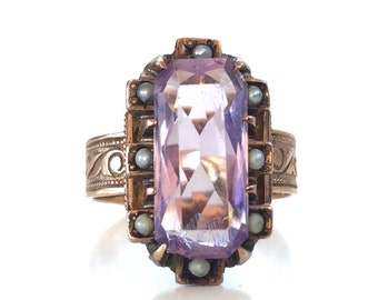 SALE | Victorian Amethyst Ring | Rose Gold | Antique | 10k | Split Pearl | Engagement Ring | Promise Ring  | Size 6.5 | Item 83116