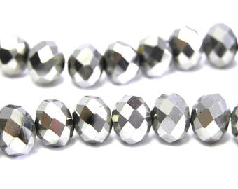 Faceted Glass Briolette Beads, Glass Rondelle Beads 8mm - Silver Metallic