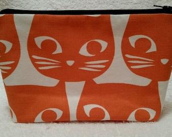Handmade Makeup bag / Pencil case using Orange Cat Patterned Fabric