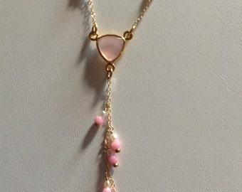 """Pink Chalcedony and Pearl """"Y"""" Necklace"""