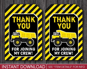 Construction Favor Tags - Dump Truck Thank You Party Favor Tags - Printable Digital File - INSTANT DOWNLOAD