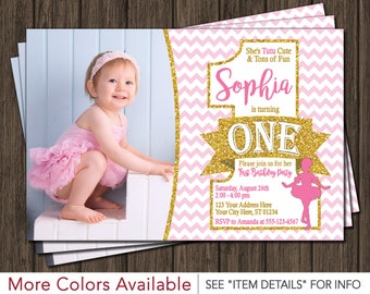 Ballerina Birthday Invitation - Pink and Gold First Birthday Invitations - Ballet Birthday Invitation