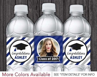 Graduation Water Bottle Labels - Printable Class of 2017 Party Decorations - Royal Blue and Silver - DIY Digital File