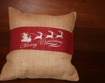 Embroidered Santa's Sleigh Pillow Wrap