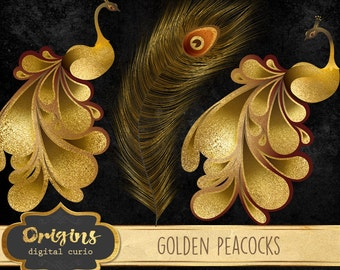 Golden Peacock Clipart, gold peacock clip art digital graphics, peacock illustration, peacock feather, gold foil instant download commercial