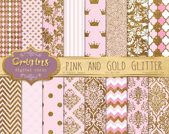 Pink and Gold Glitter Digital Paper, glitter textures, printable scrapbook paper, gold glitter princess pink baby shower digital sparkle