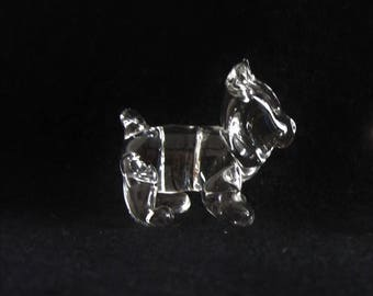 New Hand Blown Clear Colorless Glass Cute Little Bear Cub Miniature Mini Tiny Small Handmade Figure Figurine Model