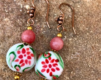 Stunning lamp work bead earrings coral copper / handmade jewelry / dangle / peach floral, boutique earrings