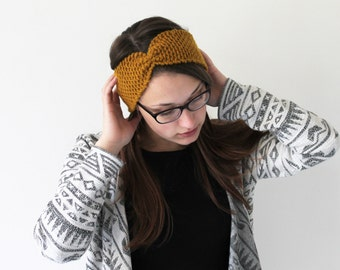 Handmade knitted wool headband