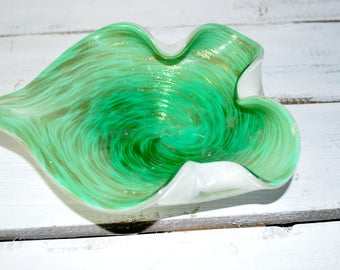 Ruffle Blown Glass Bowl , Seafoam Green and Gold , Aventurine , Home Décor