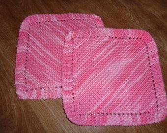 Grandma's favorite dishcloth/washcloth/wash rag/scrubbies. Set of 2. Shades of pink.