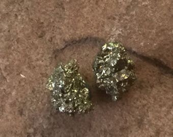 Pyrite Post Earrings, Pyrite Studs, Raw Pyrite Studs, Fools Gold Earrings, Natural Stone Earrings, Sparkly Earrings, Pyrite Posts  PER-106