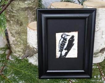 woodpecjker painting,painting on birch bark,birch bark art,wild bird art,framed birch bark,birch bark painting,woodpecker art