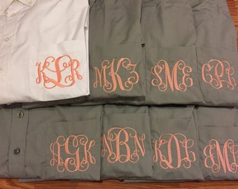CLOSEOUT:Gray size XLARGE Oversized Monogrammed  Oxford Button Down, Bridesmaids, Bridal Gifts, Beach Coverup, Monogram Gifts