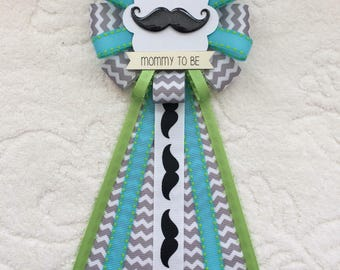Mommy to be ribbon corsage for baby shower - it's a boy - little man - mustache