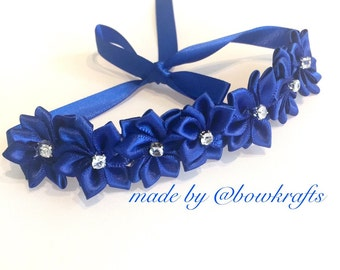 Royal blue bun flower wreath
