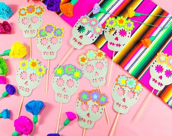 Mexican Fiesta Skull Toppers, Day of the Dead, Cinco de Mayo, Sugar Skull Toppers, , Fiesta Wedding Cake Toppers, Book of Life, Set of 5