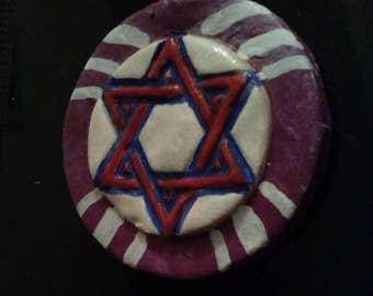 Mystical Red, White, Blue & Purple, Polymer Star of David Pendant- Hexagram Pendant, polymer clay pendant