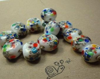 Handmade Lampwork Beads, Glass Tab Beads, Rainbow Glass Frit Beads, Silvered Ivory Glass, Colorful Fun Beads, OOAK, Ready To Ship.